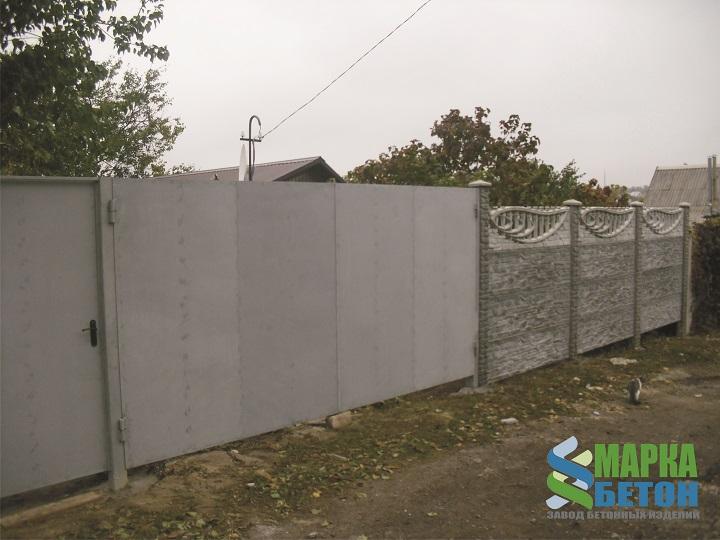 металлические ворота с еврозабором